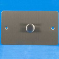 Brushed Steel/Matt Chrome Varilight 1-Gang 2-Way Push-on Push-off V-Com LED Dimmer 1 x 60-600W -